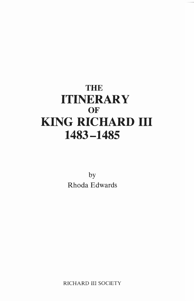 The Itinerary of King Richard III